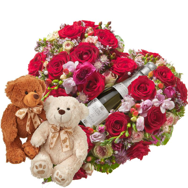 Bouquet de fleurs Touched Deeply, with Prosecco Albino Armani DOC (20cl) and t