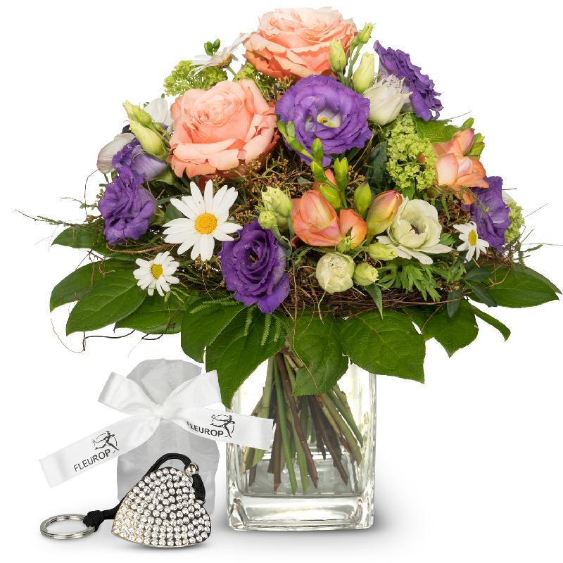 Bouquet de fleurs Cheerful Spring Bouquet incl. Key Ring with 112 Swarovski® c